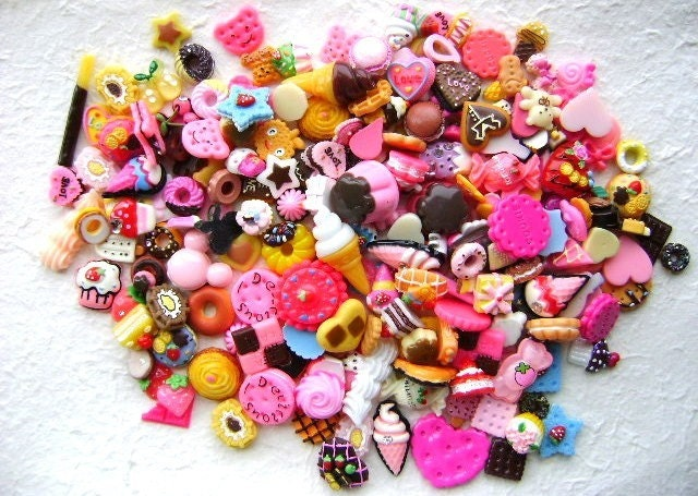Cute Japanese Cabochons 200 BIG Set Mix Sweets Only SPECIAL PACK B