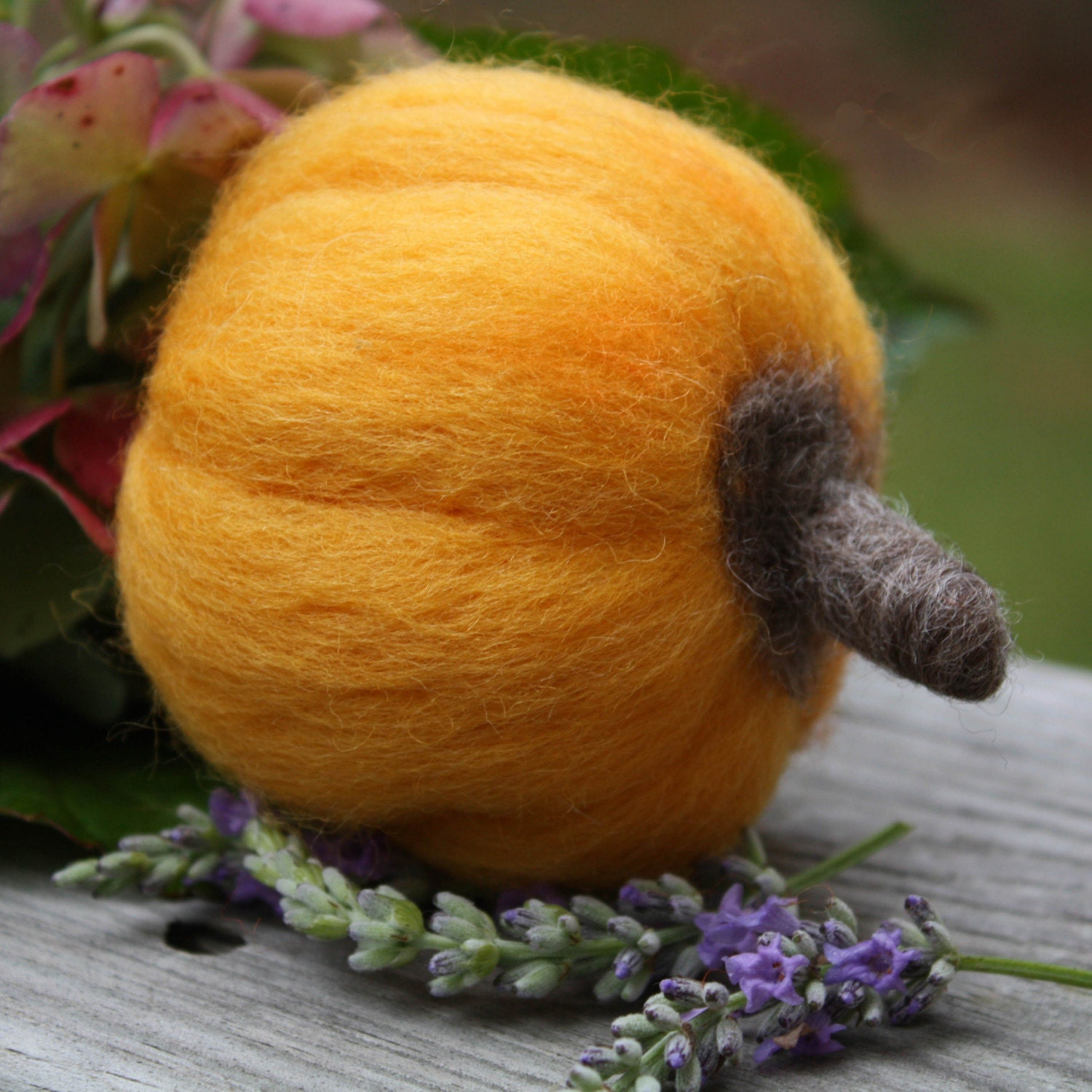 Needle  Felted Pumpkin Wool Handmade Golden Pumpkin