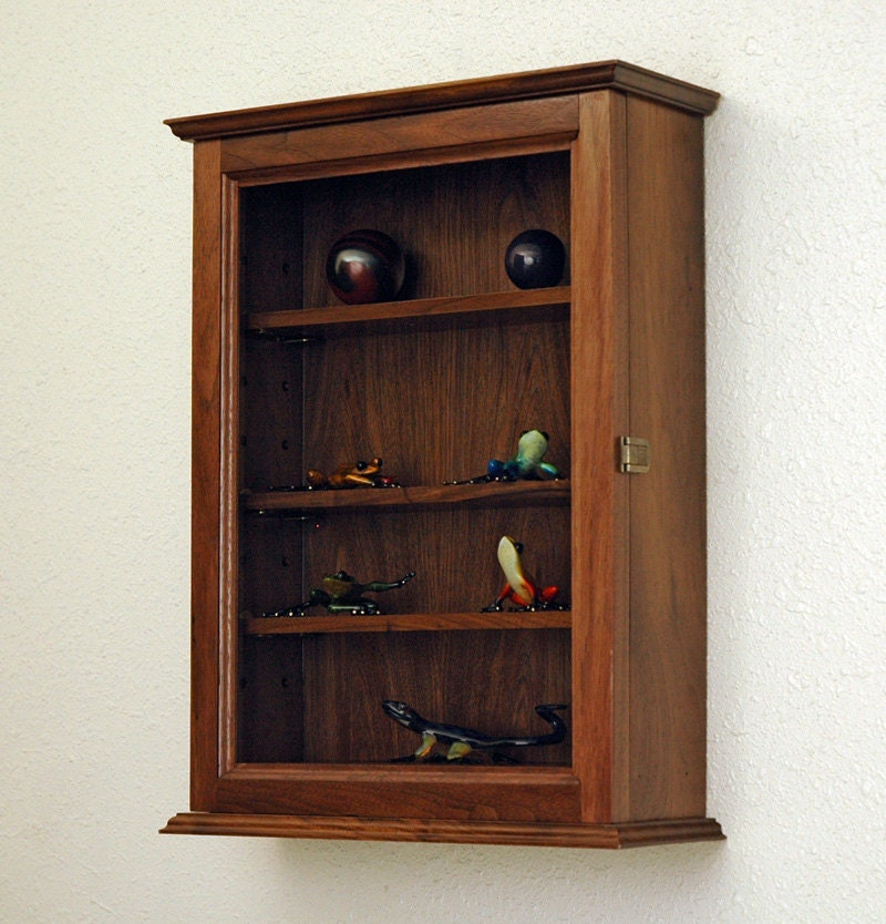 Wood curio display case wall cabinet 4 adjustable by fwdisplay