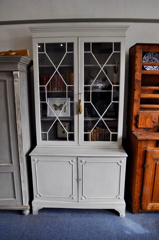 ANTIQUE VICTORIAN painted bookcase cupboard Gustavian grey