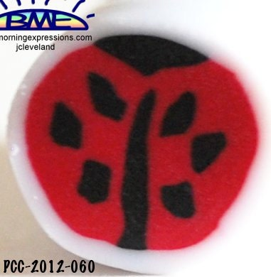 Raw Polymer Clay Ladybug Red Black  Raw Cane