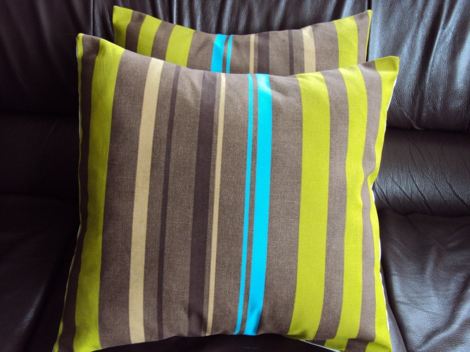 Throw Pillow Brown Beige Blue Olive Green Stripe By Veedubz
