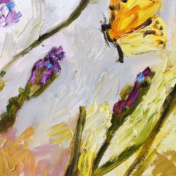 Blue Irises and Butterfly -  Impressionist Original Oil Pianting by Ginette Callaway