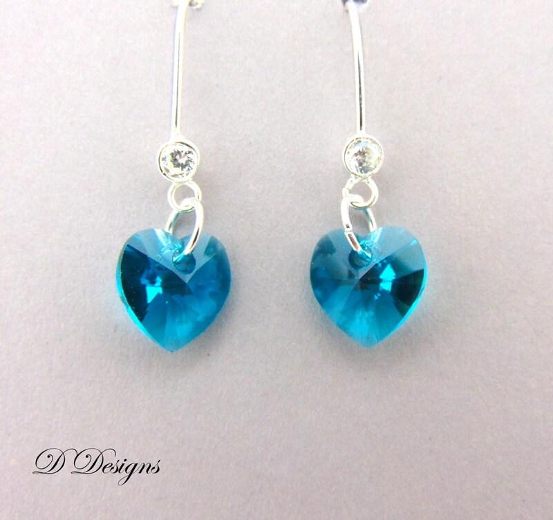 December Birthstone Earrings Blue Earrings Blue Zircon crystal Jewellery December Gifts Sterling Silver Earrings Heart Earrings