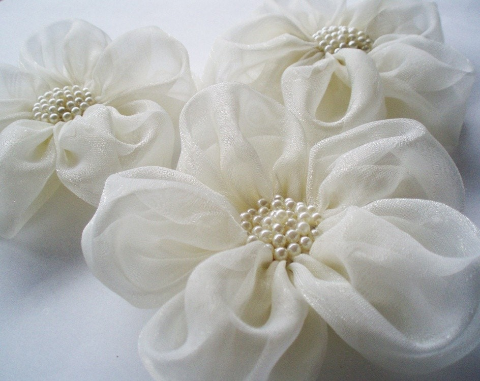 Ivory Chiffon Flowers Handmade Appliques by BizimSupplies on Etsy from etsy.com