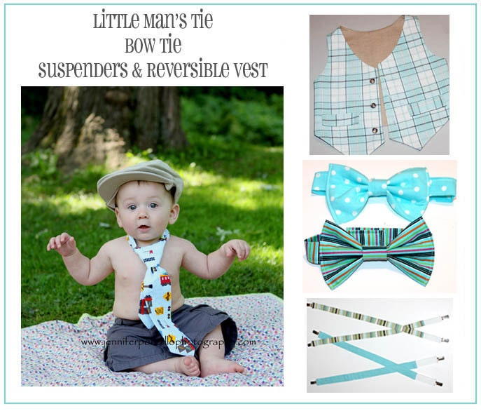 Boys Pattern Special - Tie, Bow Tie, Reversible Vest and Suspenders