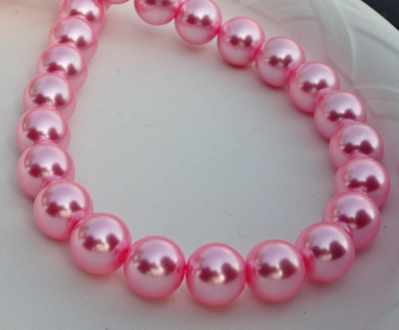 8mm Pink Glass Pearls 25pcs