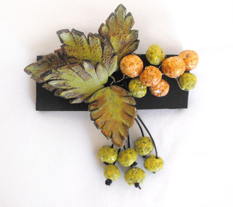 Hair barrette. Floral leather hair barrette. Green and brown color