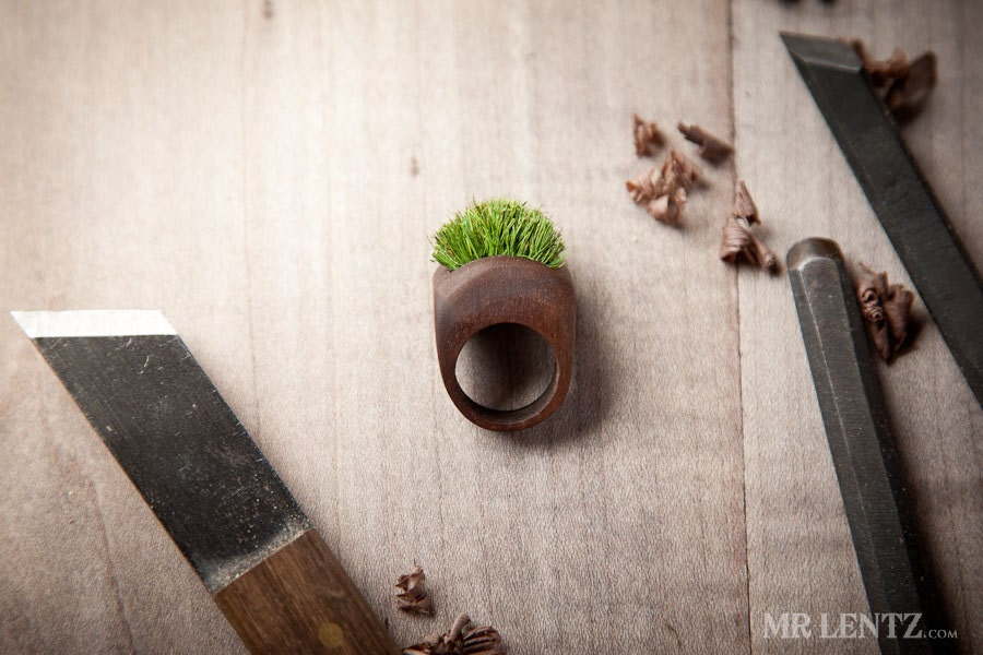 Wood Ring With Grass Handmade Eco Friendly Forest Jewelry 002 - MrLentz