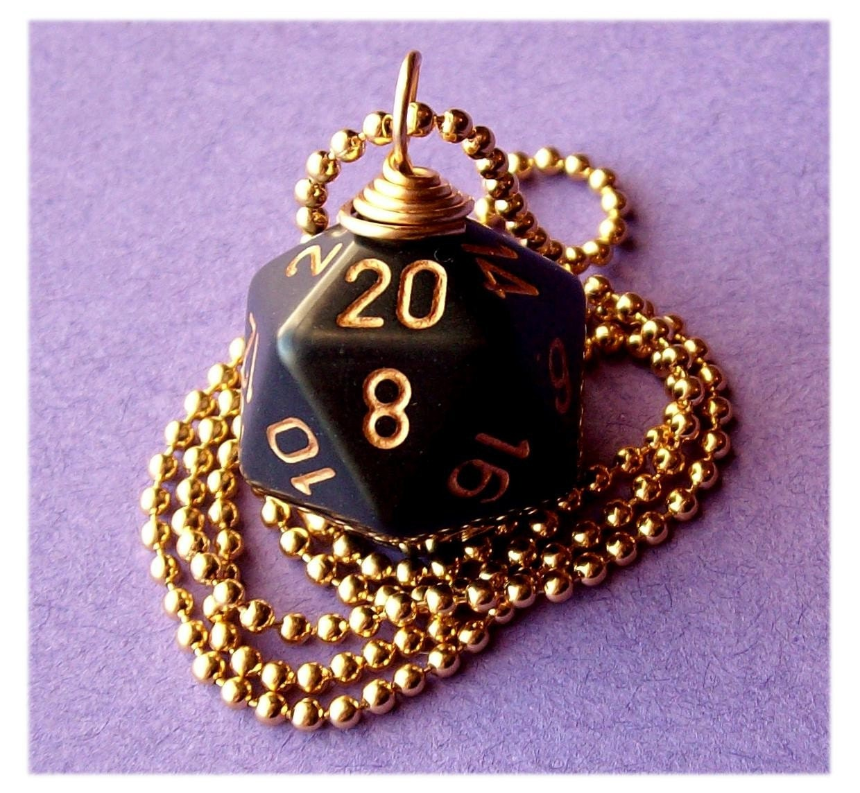 geekery, dice, die, geek, game, dnd, jewelry, necklace, pendant, dungeons dragons, pawandclawdesigns, black, gold, d20
