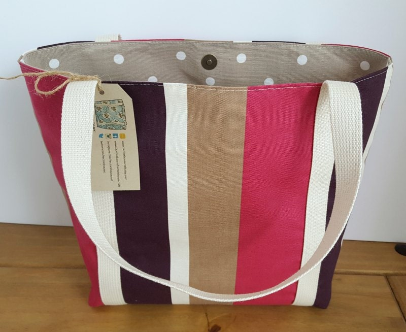 Striped tote bag Pink shoulder bag  Womens fabric handbag Teacher Tote Eco friendly Shopping bag Casual bag Womens gift for her Bags