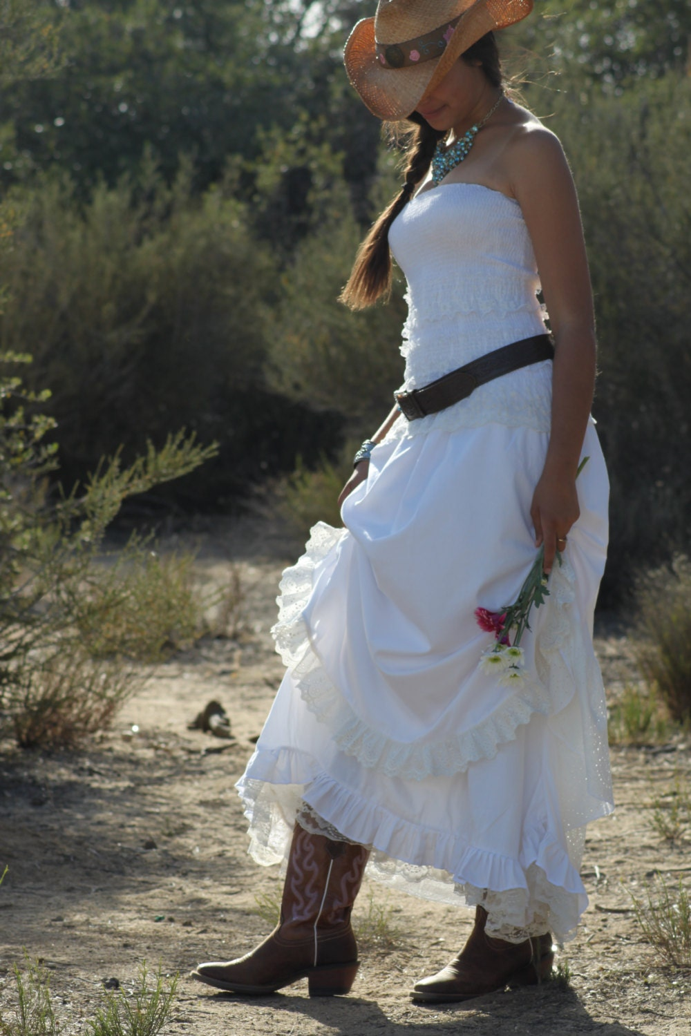 Listing for johanna country western by sandybrowndesigns for Western wedding dresses with boots