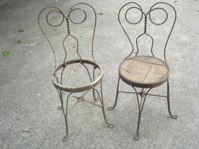 Antique Ice Cream Parlor Chairs Twisted Iron Pair - AntoinettesWhims