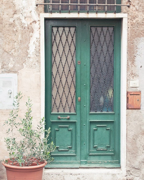 Rome architecture photo - Somewhere in Trastevere - Travel art -  Door photography - Italy urban art rustic home decor - Olive green emerald - photographybykarina