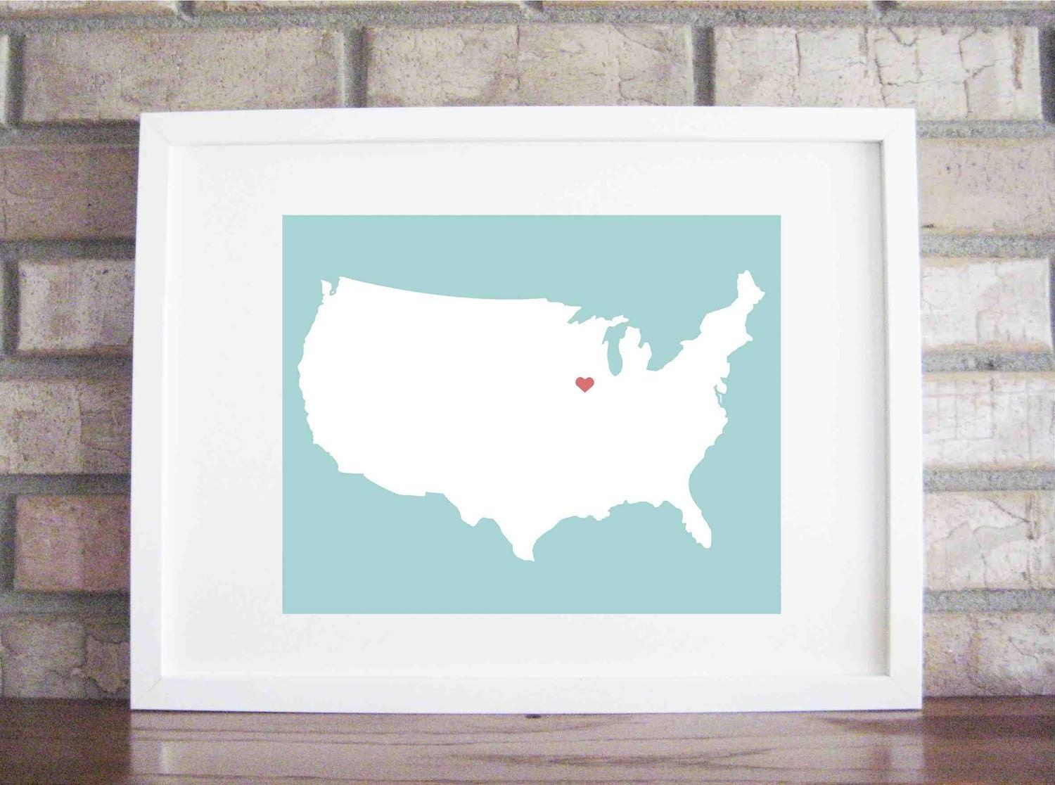 Customize Your Home is Where the Heart Is World or USA 8 x 10