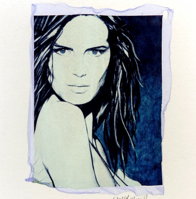 Blue Eyes - Original Polaroid Transfer with Custom Mat