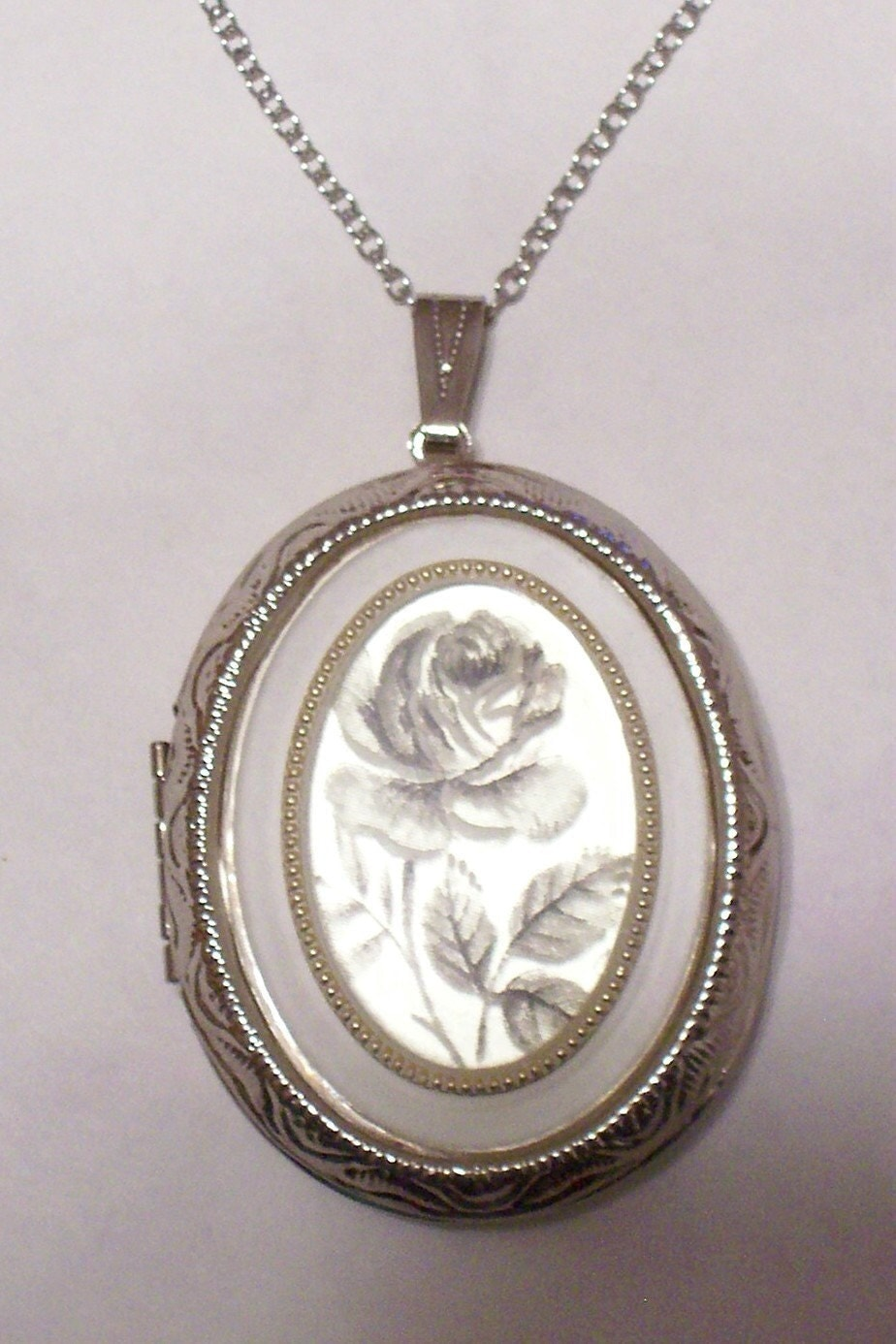 Unusual Frosted Silver Gray Rose Cameo Locket Necklace - Now in Bright Polished Silver