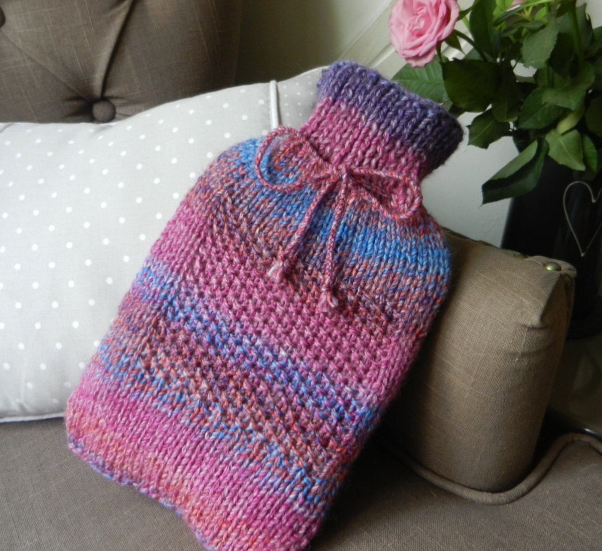knitted hot water bottle cover cozy purple by LafantUK on Etsy