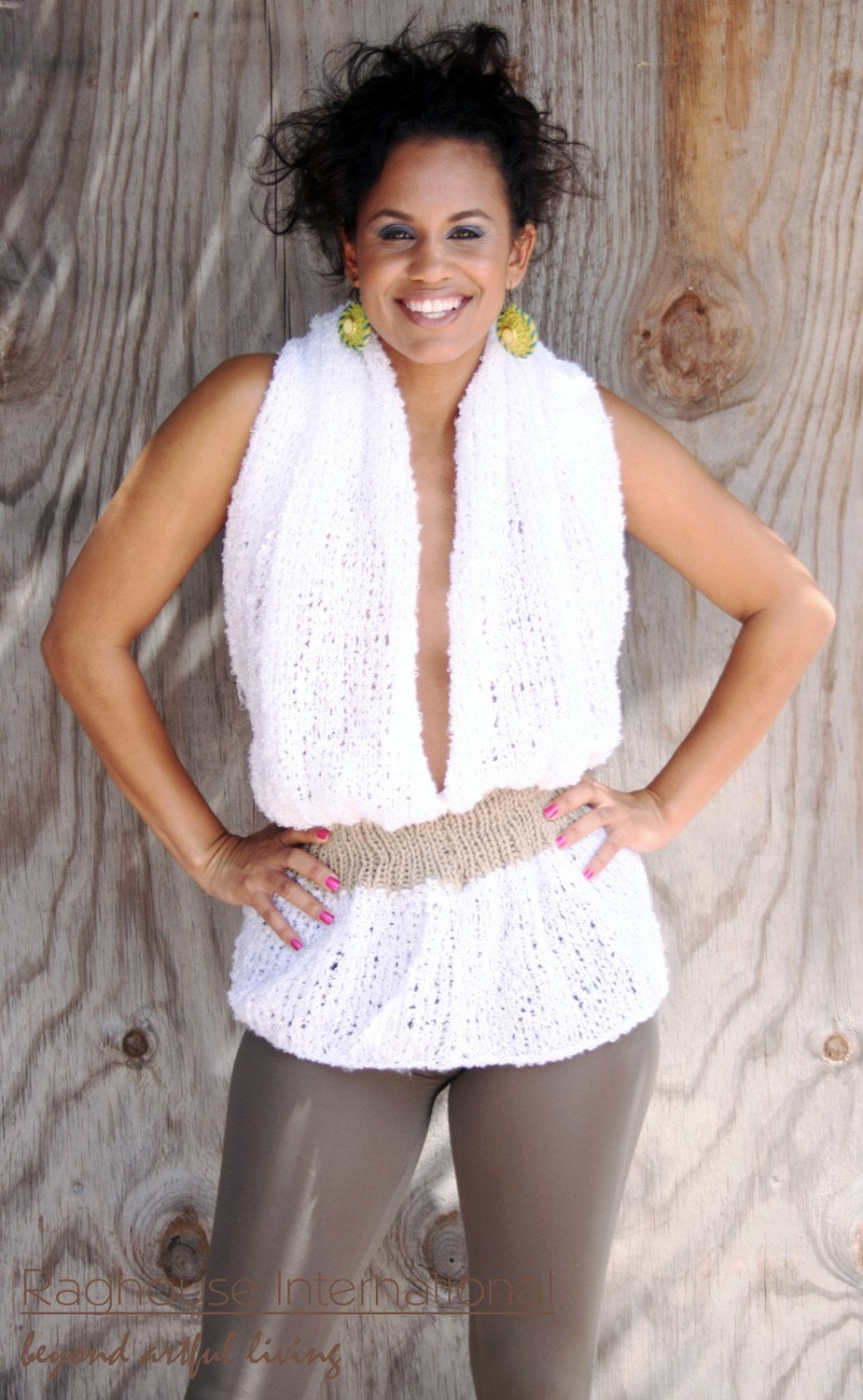 white knit top. Soft White Knit Halter Top by
