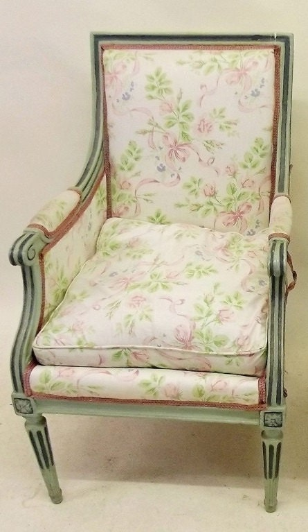 REDUCED PRICE Fabulous French antique Louis XVI empirestyle armchair with feather squab cushion