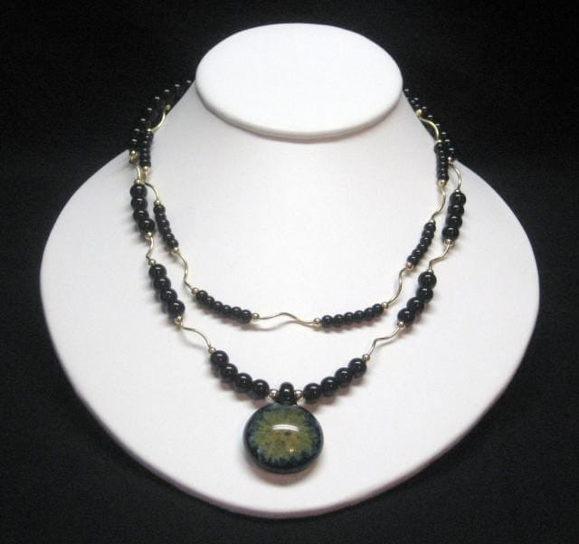 Black Onyx Necklace with Glass Flower Pendant