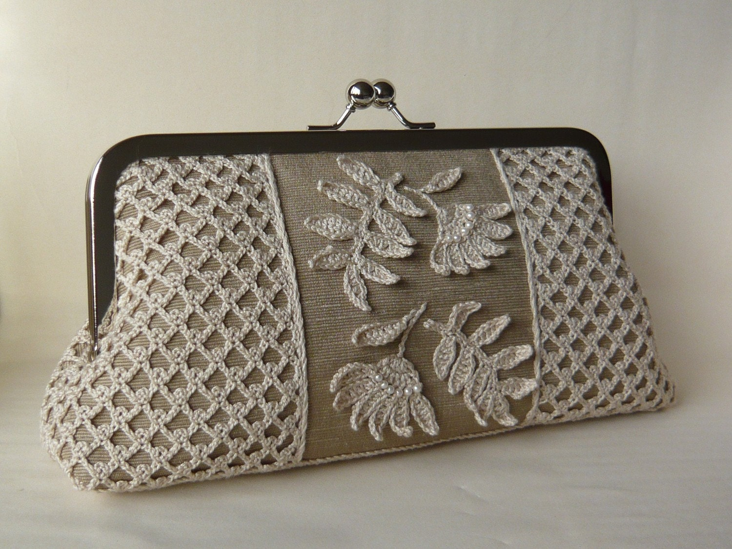 Irish crochet clutch bag