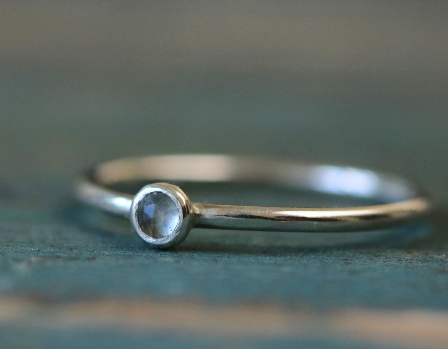 Dainty December birthstone ring tiny blue topaz ring silver stacking ring with birthstone  Juliet