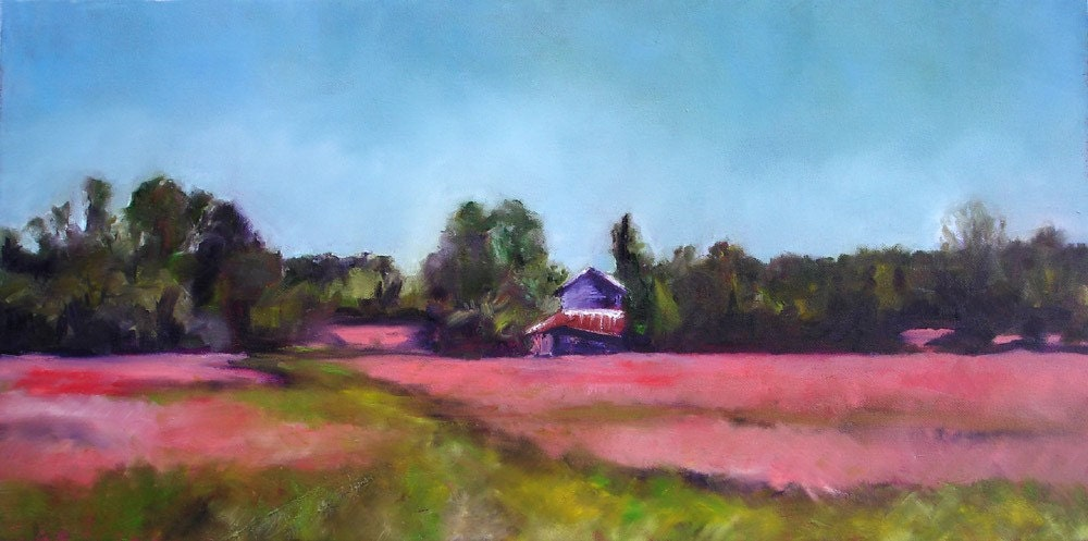 Barn in Red Field, North Carolina, original oil landscape painting 24x12