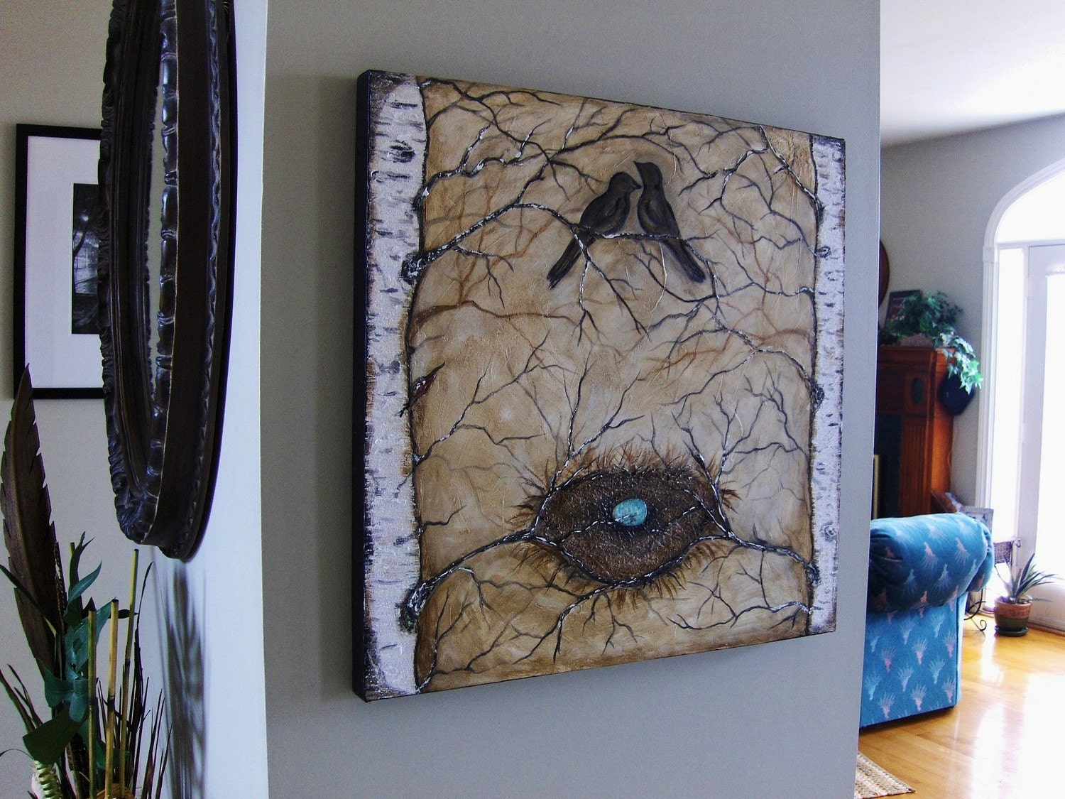 Family Nest - Bird and Birch Large Multi Media Painting
