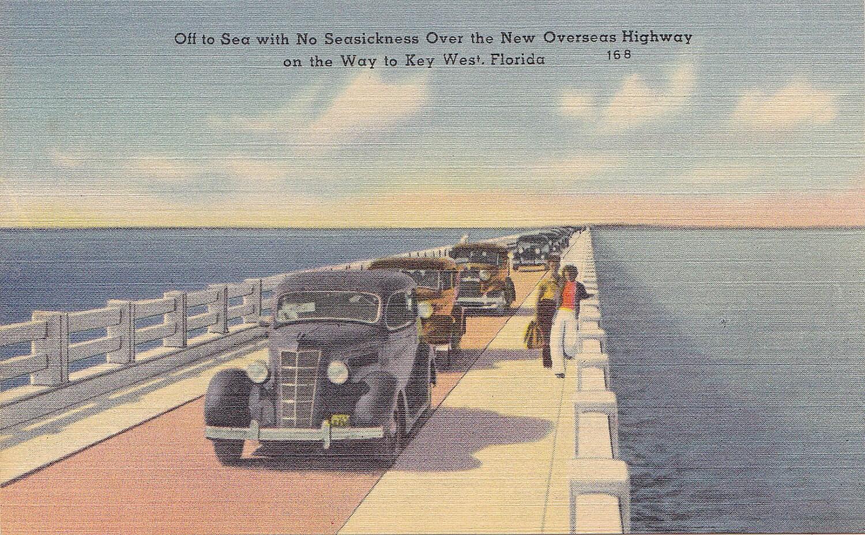 Vintage Unused Overseas Highway Bridge Key West Florida Postcard (510)