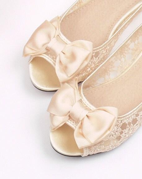 Vintage style lace Wedding shoes Bridal shoes Bridesmaid shoes transparent sandals flat heels Bow fish mouth lace shoes - Phoenixinfire