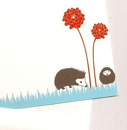 Personalized Stationary with Hedgehogs and Flowers Set of 25