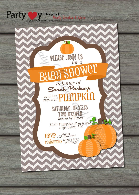 pumpkin baby shower invitation fall baby shower chevron baby shower