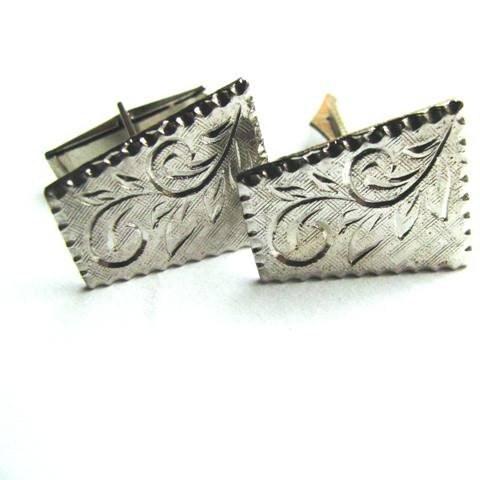 Fern Scroll - Diamond Cut Men's Vintage Cuff Links