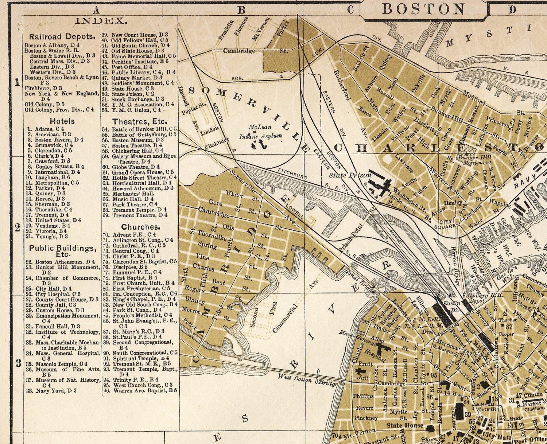Boston Massachusetts Map Antique 1895 South Boston By