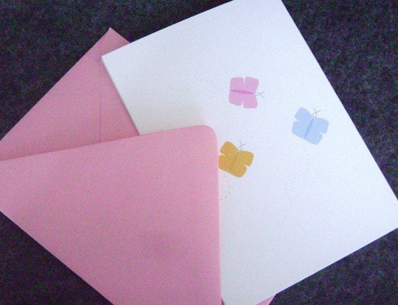 Note Cards, Set of 4 - Butterflies