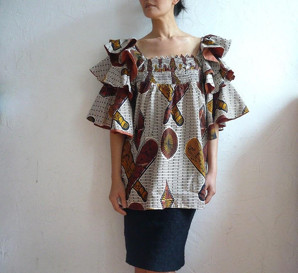 FATOU African Boubou Cotton Wax Maxi Blouse