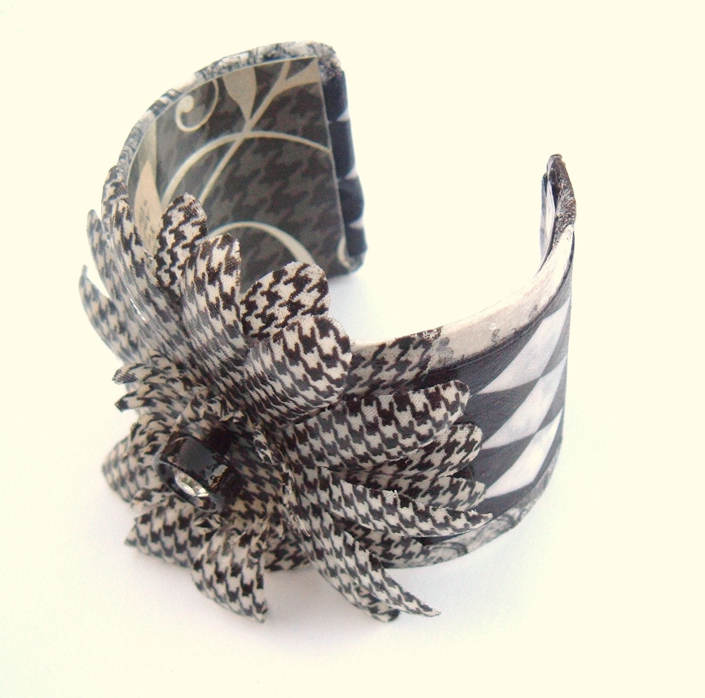 Black and White Decoupage cuff Bracelet vintage rhinestone button fabric flower