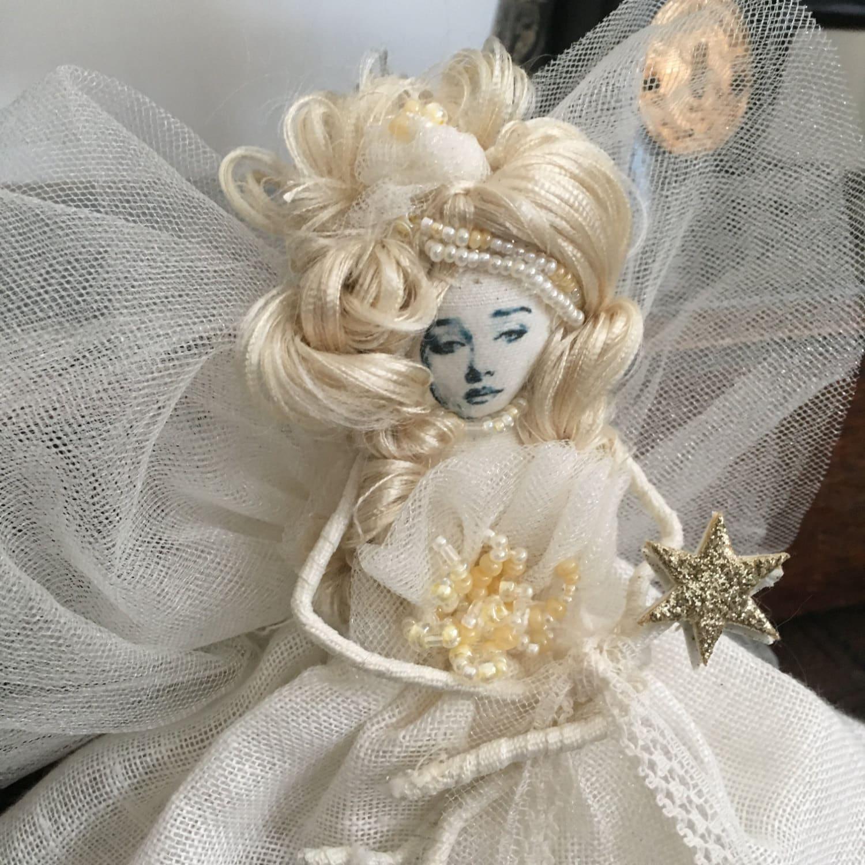 Handmade vintage FairyAngel doll Christmas tree topper