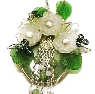 Green Jade and Swarovski Crystal Necklace