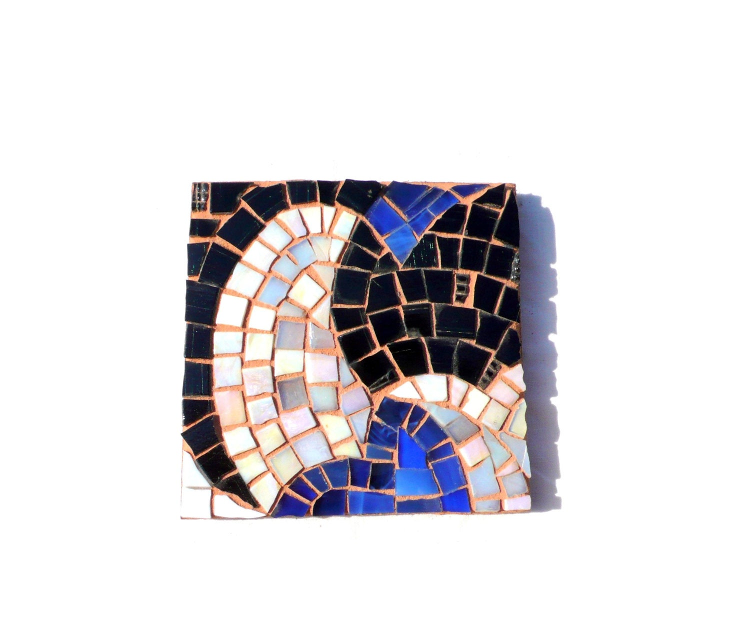 blue, white, black art glass mosaic coaster abstract MADE TO ORDER - LaTenagliaImpazzita
