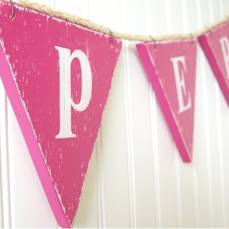Custom Bunting Banner Pennant Flag Vintage Style in Wood Child's Room Nursery Playroom Customize Your Text and Colours