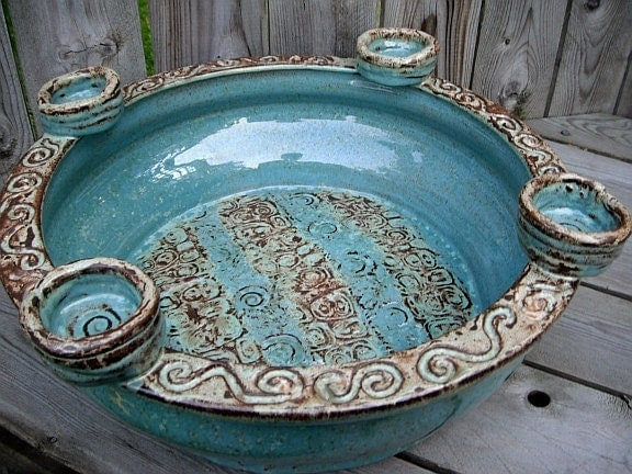 stoneware centerpiece bowl by cropcircleclay.etsy.com