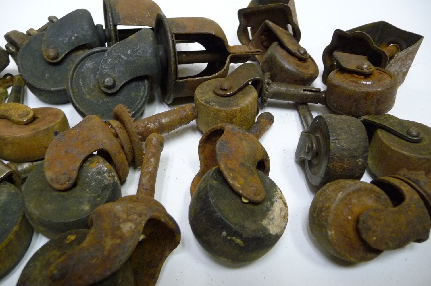 17 wood casters antique lot furniture supplies by
