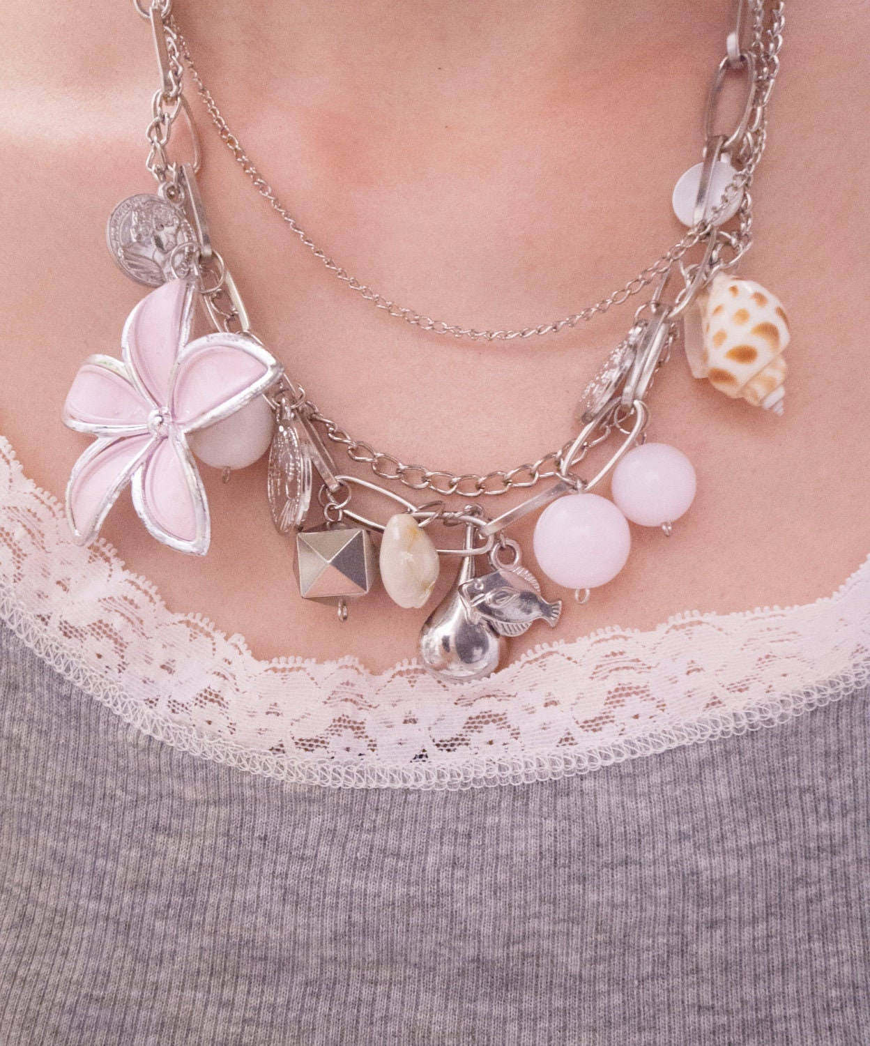 SALE-Chunky Charm Silver Plated and Pink Necklace for Summer