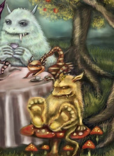 Monster Tea Party Fantasy Art Print