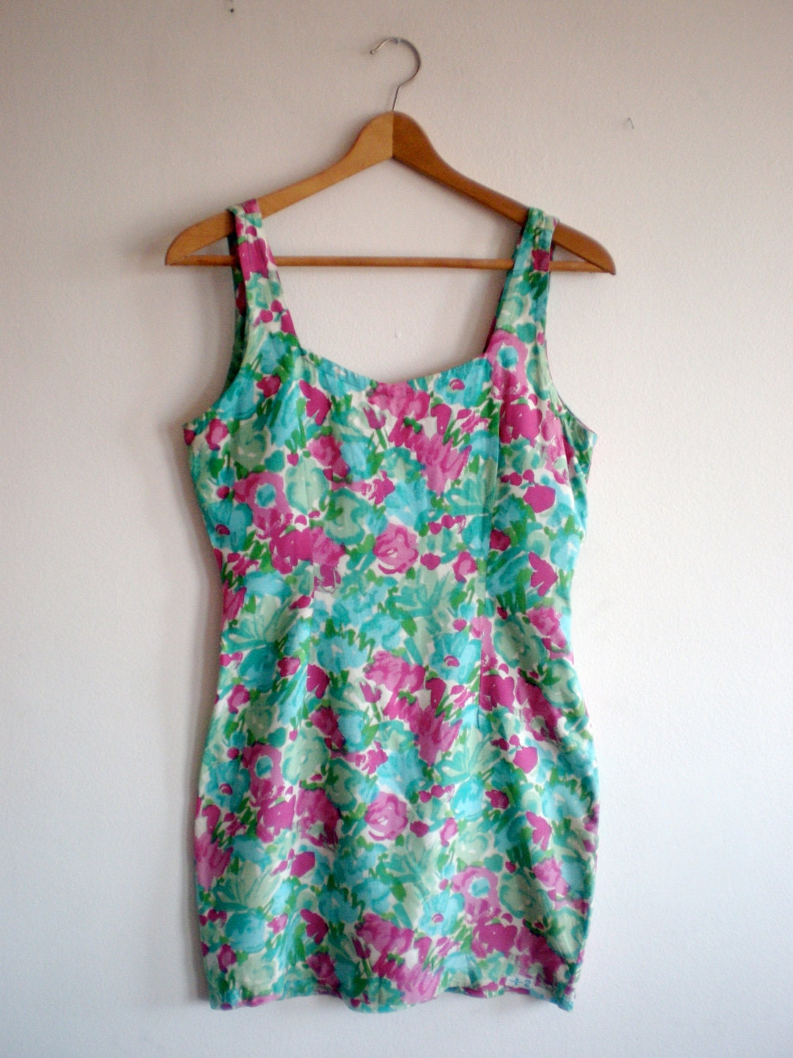 Vintage pretty floral mini- dress size S/M