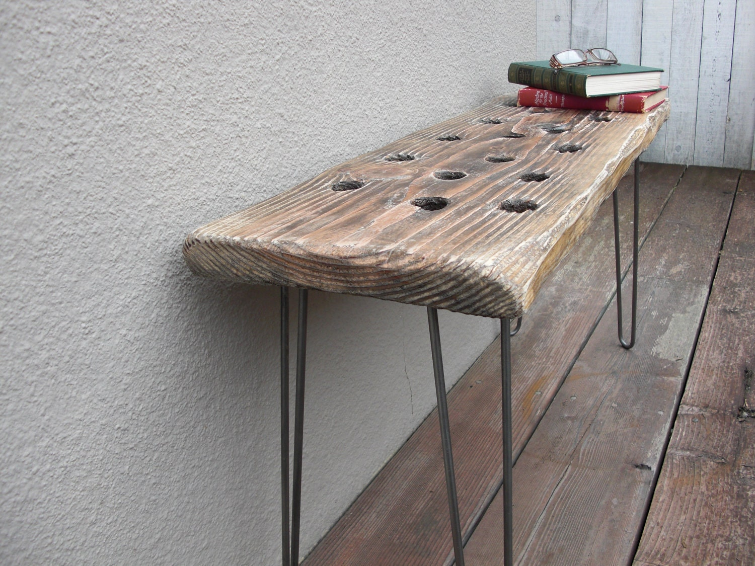Modern Reclaimed Upcycle Rustic Wood Plank Bench with Vintage Eames Style Hairpin Legs