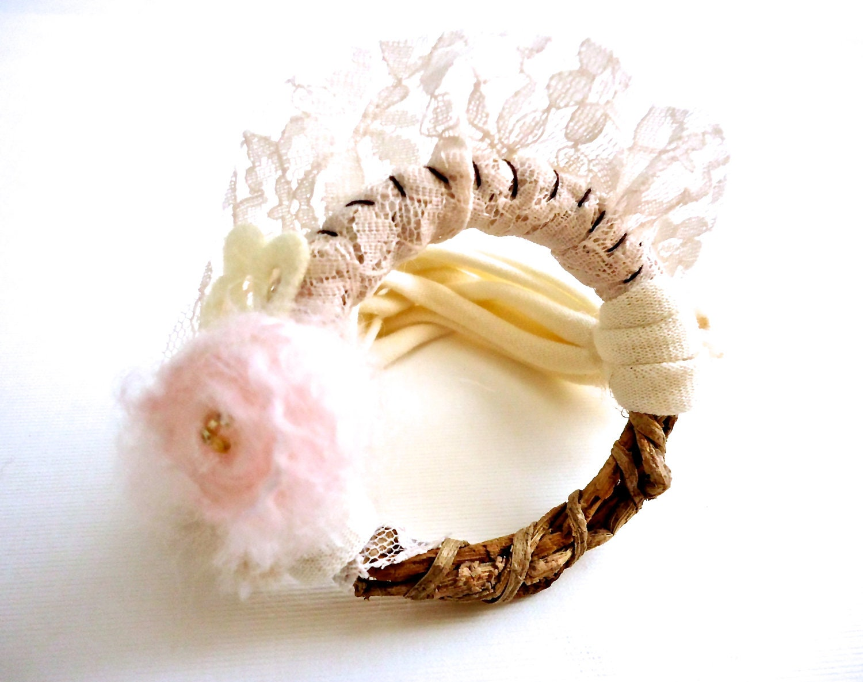 Boho Romantic Bracelet. Up Cycled Fabric Bracelet Cuff. Handmade Mohair Rosette. Organic Yute Ring. Boho Style cuff. Feminine wrist accent. - EcoYagual