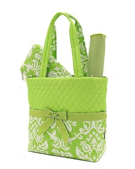 Lime and White Embroidered Diaper Bag